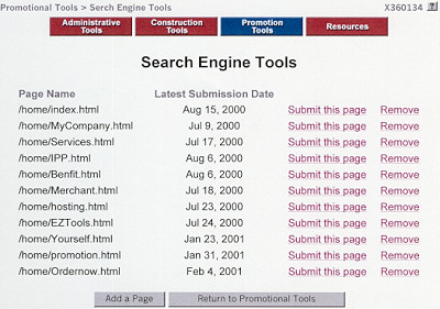 Search Engine Tools for Submitting Web Pages